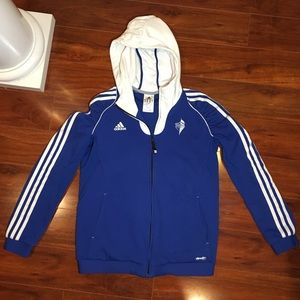 [ADIDAS] Blue White 3 Stripe Zip-Up Hoodie Size L